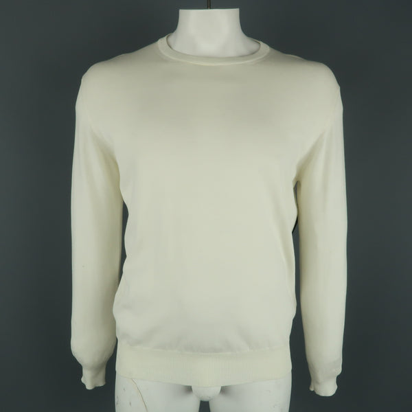 BORRELLI Size 42 Beige Solid Cotton Crew-Neck Pullover