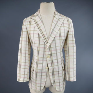 BOTTEGA VENETA 38 Short Cream Cotton / Silk Brown & Pink Plaid Sport Coat