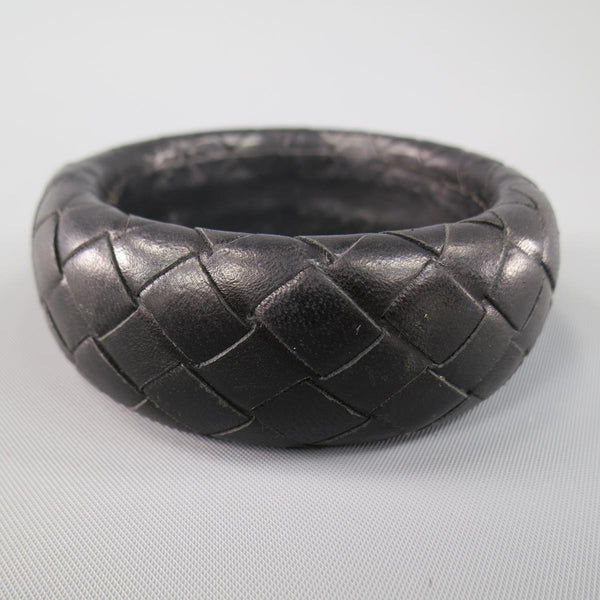 BOTTEGA VENETA Black Woven Intrecciato Leather Bangle