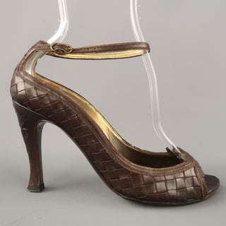 BOTTEGA VENETA Size 6.5 Brown Woven Intrecciato Leather Peep Toe Pumps