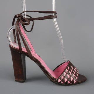 BOTTEGA VENETA Size 7 Brown & Pink Leather Ankle Tie Sandals