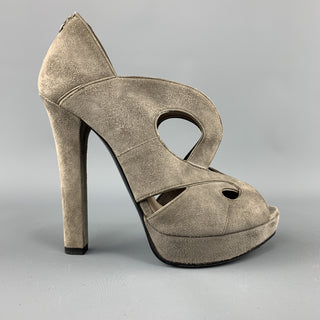 BOTTEGA VENETA Size 7 Grey Suede Patent Leather Piping Peep Toe Sandals