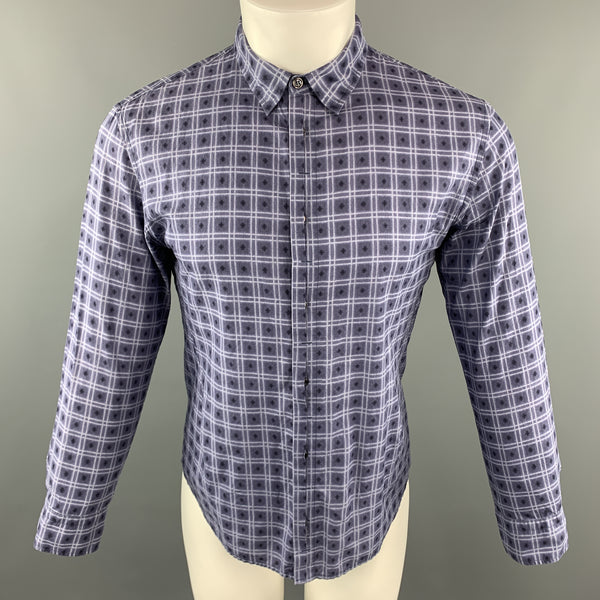 BOTTEGA VENETA Size M Navy Squares Print Cotton Button Up Long Sleeve Shirt
