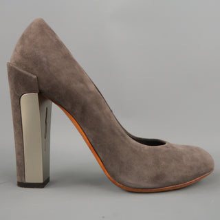 BRIAN ATWOOD Size 7.5 Taupe Suede Metal Chunky Heel Pumps