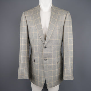 BRIONI 40 Light Gray & Gold Window Pane Wool / Silk Notch Lapel Sport Coat