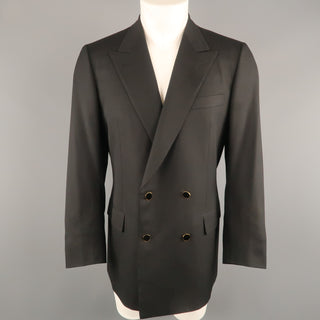 BRIONI 40 Regular Black Wool Peak Lapel Double Breasted Gold Button Sport Coat