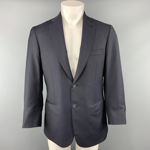 BRIONI 40 Short Navy Solid Wool Notch Lapel  Sport Coat