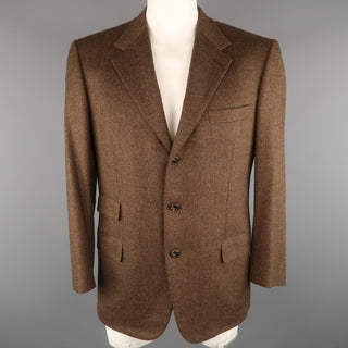 BRIONI 42 Regular Brown & Black Heather Wool / Cashmere Notch Lapel  Sport Coat
