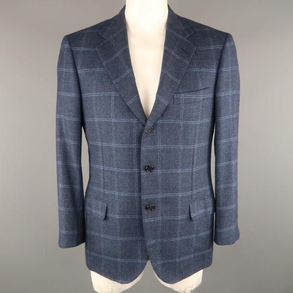 BRIONI 42 Regular Navy Window Pane Cashmere Notch Lapel  Sport Coat