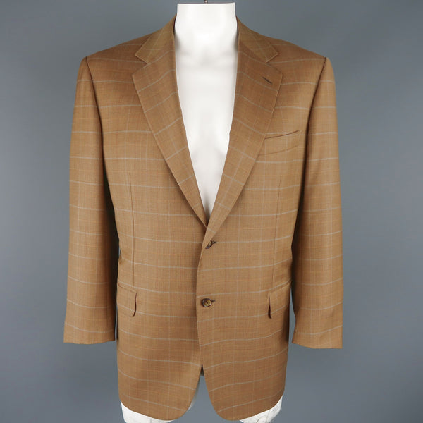 BRIONI 44 Golden Tan Window Pane Wool Two Button Sport Coat