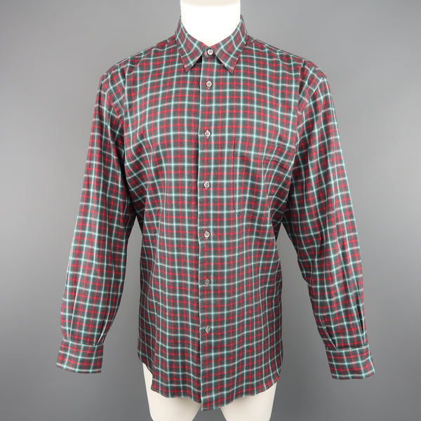 BRIONI SPORT Size L Olive & Red Plaid Cotton Flannel Long Sleeve Shirt