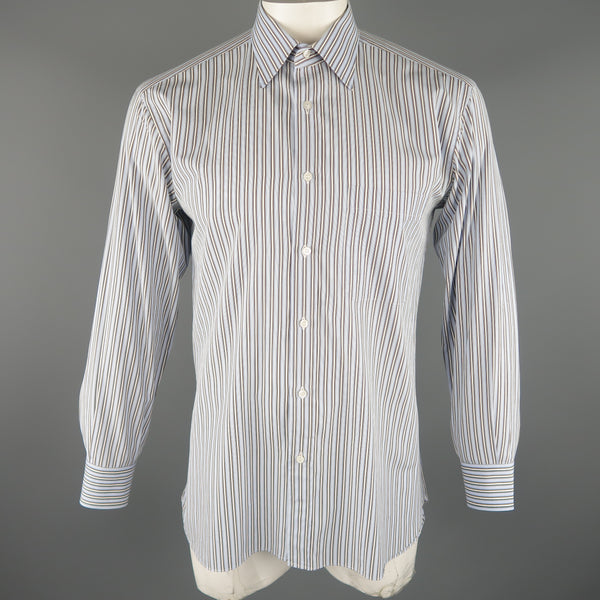 BRIONI Size L Light Blue Stripe Cotton Long Sleeve Shirt