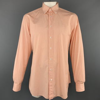 BRIONI Size L Orange Window Pane Cotton Button Down Long Sleeve Shirt