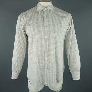 BRIONI Size L White Window Pane Cotton Dress Shirt