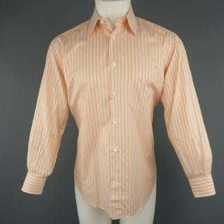 BRIONI Size S Orange Stripe Cotton Long Sleeve Shirt