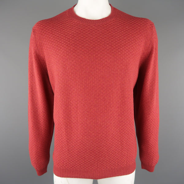 BROOKS BROTHERS Size L Brick Knitted Cashmere Crew-Neck Sweater