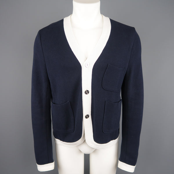 BROOKS BROTHERS Size S Navy & White Cotton Cardigan