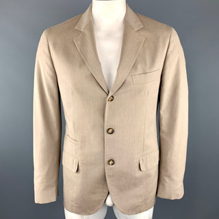 BRUNELLO CUCINELLI 40 Sand Cotton Notch Lapel Sport Coat
