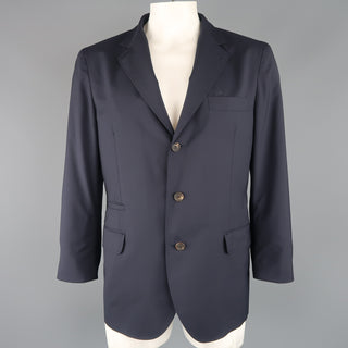 BRUNELLO CUCINELLI 44 R Navy Wool / Silk Notch Lapel Sport Coat - Sui Generis Designer Consignment