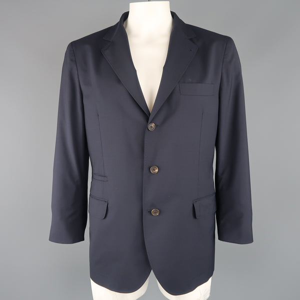 BRUNELLO CUCINELLI 44 R Navy Wool / Silk Notch Lapel Sport Coat