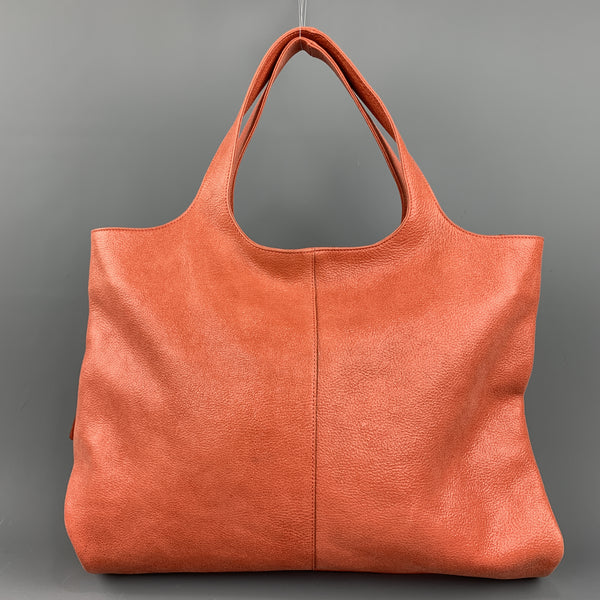 BRUNELLO CUCINELLI Glazed Coral Leather Tote Handbag