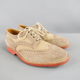 BRUNELLO CUCINELLI Size 10 Taupe Perforated Canvas Wingtip Lace Up