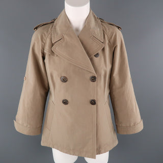 BRUNELLO CUCINELLI Size 4 Khaki Cotton Double Breasted A Line Trench Jacket