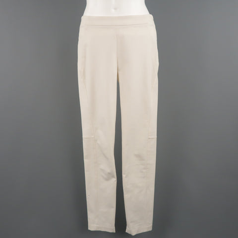 BRUNELLO CUCINELLI Size 4 Off White Cotton / Elastane Stretch Pants