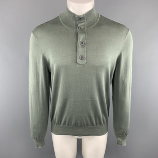 BRUNELLO CUCINELLI Size 40 Olive Cotton Buttoned Pullover Sweater