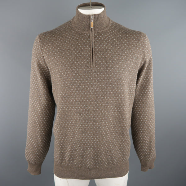 BRUNELLO CUCINELLI Size 46 Taupe & Grey Knitted Cashmere 1/2 Zip Sweater