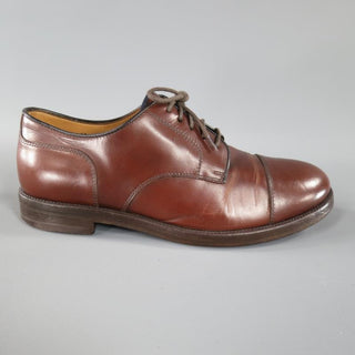 BRUNELLO CUCINELLI Size 8 Brown Leather Cap-toe Lace Up