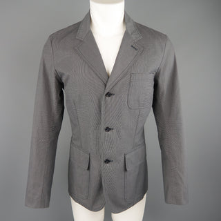 BURBERRY LONDON 40 Grey Nailhead Cotton Notch Lapel Patch Pocket Jacket