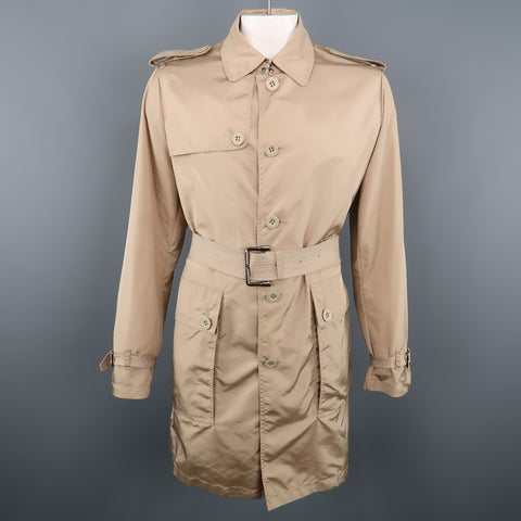 BURBERRY LONDON L Khaki Solid Nylon Belted Trenchcoat