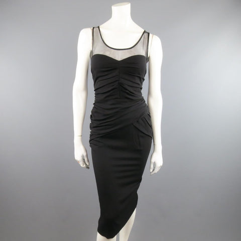 BURBERRY PRORSUM Size 10 Black Draped Silk & Mesh Cocktail Dress