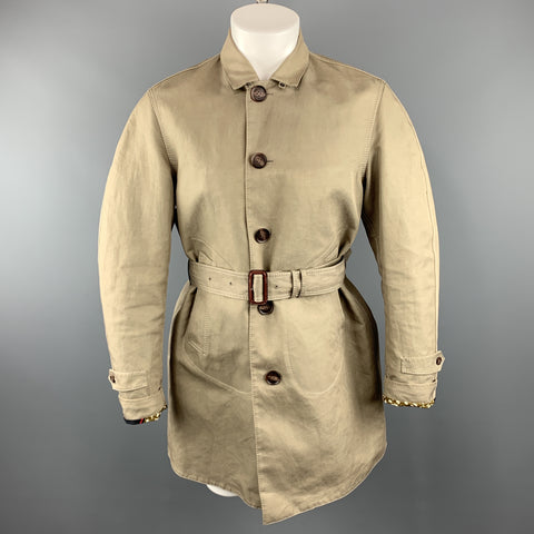 BURBERRY PRORSUM Size 36 Khaki Cotton / Linen Belted Trenchcoat