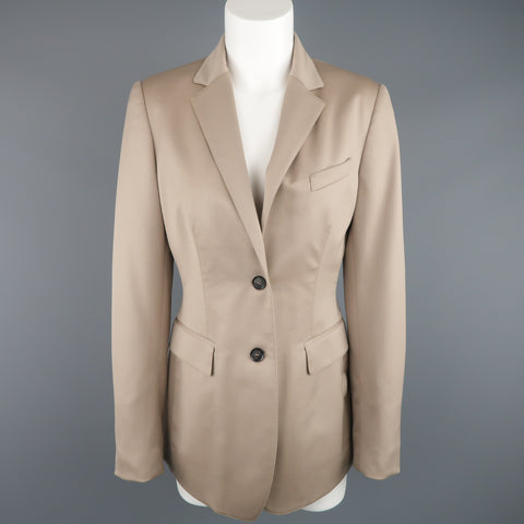 BURBERRY PRORSUM Size 6 Beige Virgin Stretch Wool Notch Lapel Blazer