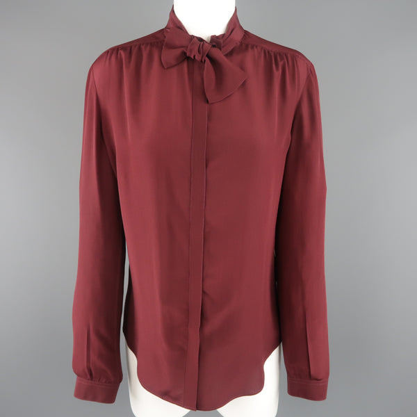 BURBERRY PRORSUM Size 6 Burgundy Silk Bow Collar Blouse