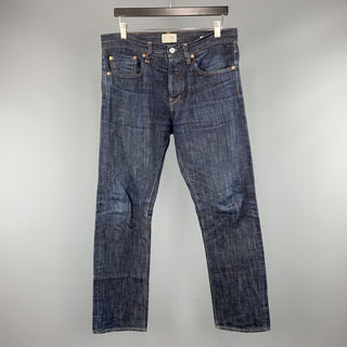 C.O.F. STUDIO 32 x 30 Indigo Contrast Stitch Selvedge Denim Button Fly Jeans