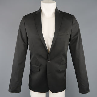 CALVIN KLEIN 38 Regular Black Solid Twill Extreme Slim Fit Sport Coat