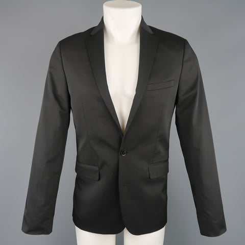 CALVIN KLEIN 38 Regular Black Solid Twill Extreme Slim Fit Sport Coat - Sui Generis Designer Consignment