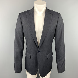 CALVIN KLEIN COLLECTION 38 Charcoal Glenplaid Wool Peak Lapel Sport Coat