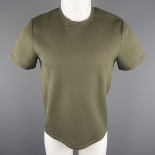 CALVIN KLEIN COLLECTION Size S Olive Solid Cotton Blend T-shirt