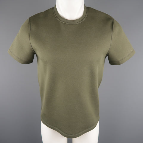 CALVIN KLEIN COLLECTION Size S Olive Solid Cotton Blend T-shirt - Sui Generis Designer Consignment