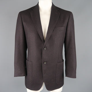 CANALI 42 Regular Black & Eggplant Houndstooth Wool / Cashmere / Silk Sport Coat