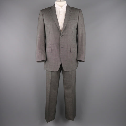 CANALI 42 Regular Black & White Nailhead Wool Single Breasted  Suit