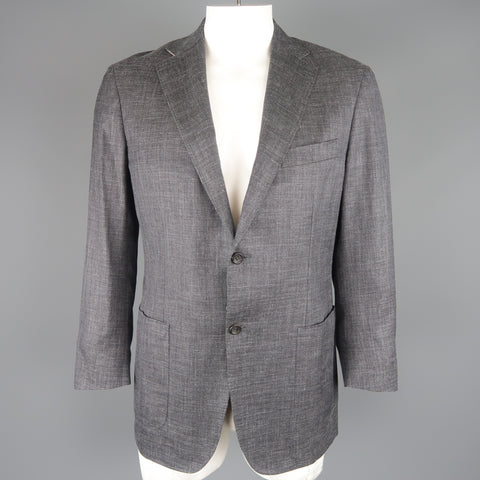 CANALI 42 Regular Gray Heather Wool / Silk / Linen Notch Lapel Sport Coat Jacket - Sui Generis Designer Consignment