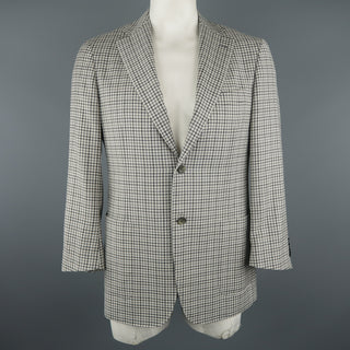 CANALI Chest Size 42 Regular Checkered Grey Wool Notch Lapel Sport Coat
