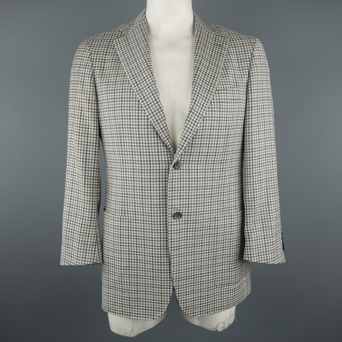 CANALI 42 Regular Grey Checkered Wool Sport Coat