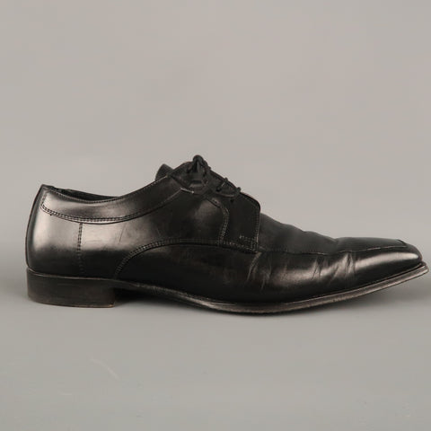 CANALI Size 13 Black Leather Lace Up Shoes