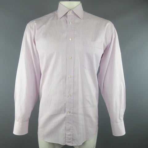 CANALI Size L Pink & Blue Stripe Cotton Long Sleeve Shirt